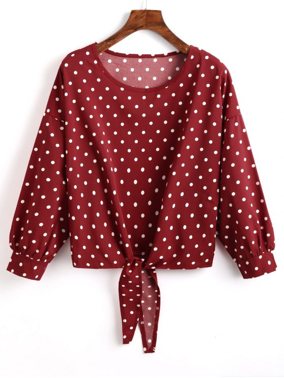 shop Knot Front Polka Dot Blouse - BURGUNDY S