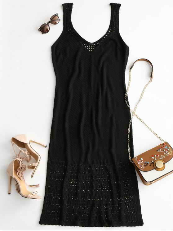 womens Plunge Maxi Crochet Dress - BLACK ONE SIZE