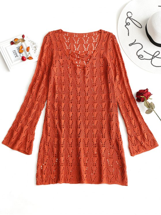 ladies Lace-up Long Sleeve Crochet Dress - BRICK-RED ONE SIZE