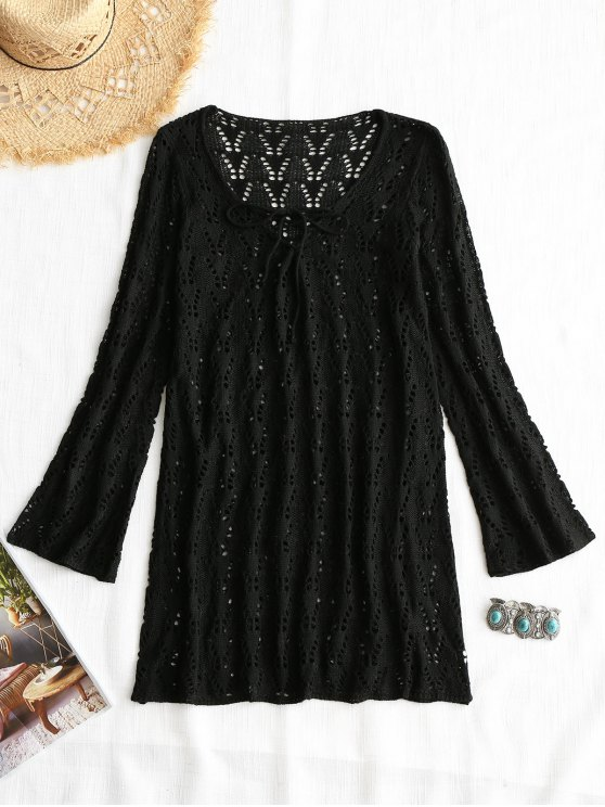 new Lace-up Long Sleeve Crochet Dress - BLACK ONE SIZE