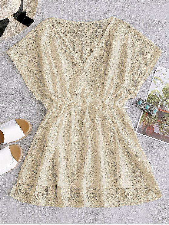 Drawstring Lace Cover-up Dress - Damasco Tamanho único