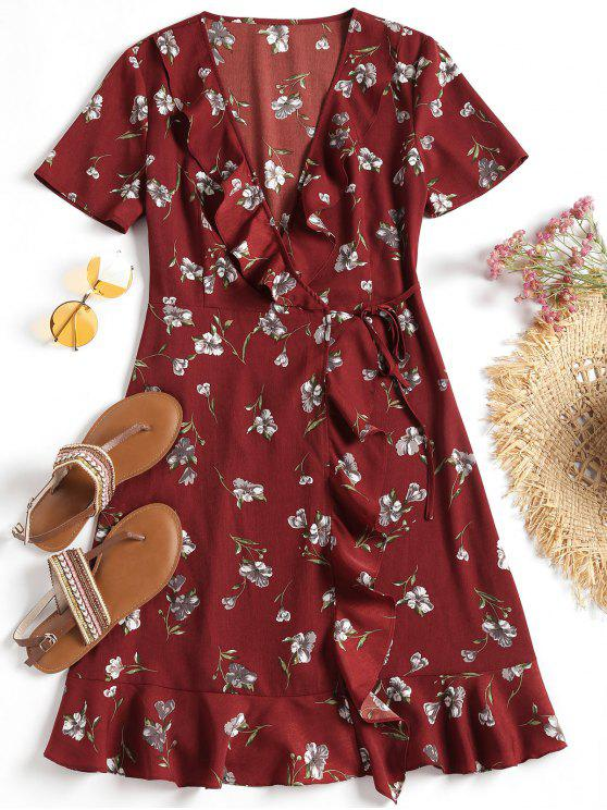 hot Plunging Neck Floral Ruffles Wrap Dress - DARK RED S