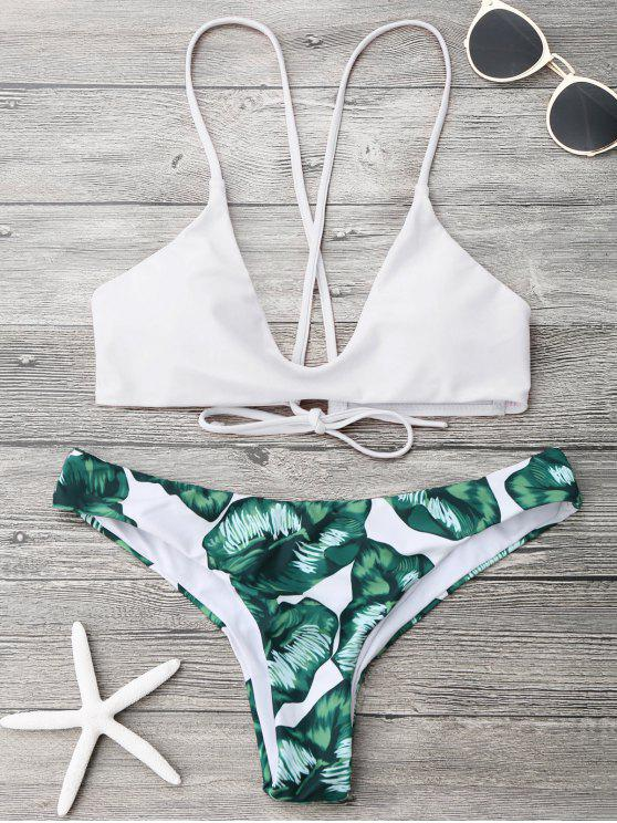 sale Palm Leaf Cami Bralette Bikini Set - WHITE L
