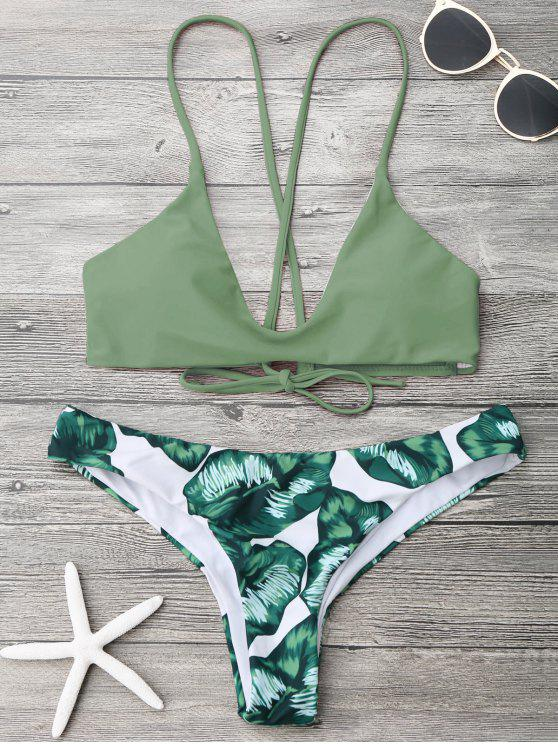 outfits Palm Leaf Cami Bralette Bikini Set - ARMY GREEN M
