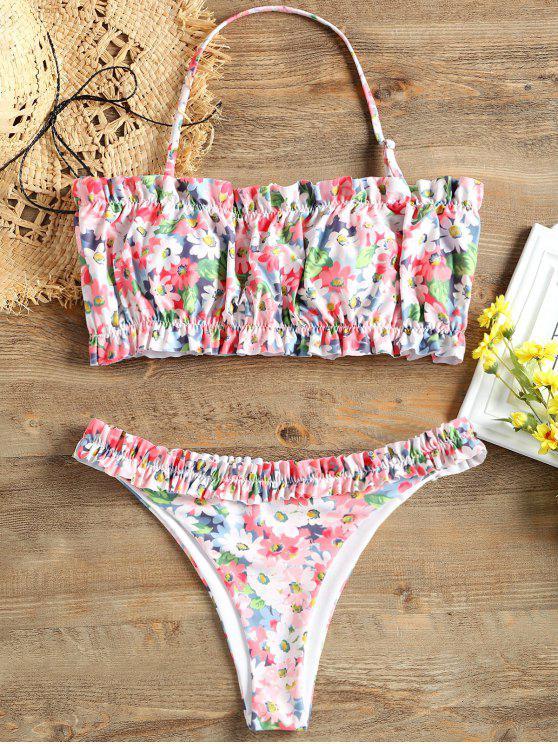 hot Ruffle Print Bikini Set - COLORMIX L