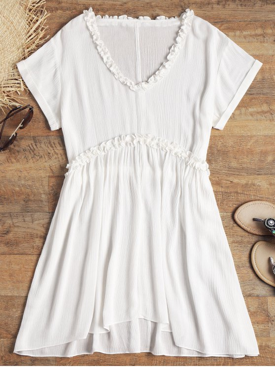 V Neck Frilled Crinkly Beach Dress - Branco M