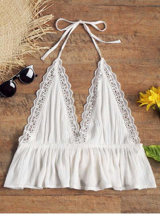 shops Halter Open Back Crinkly Beach Top - WHITE S