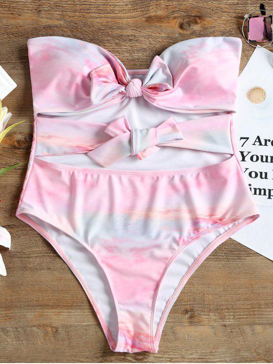Costume Da Bagno Intero A Fascia A Fiocco - Rosa XL