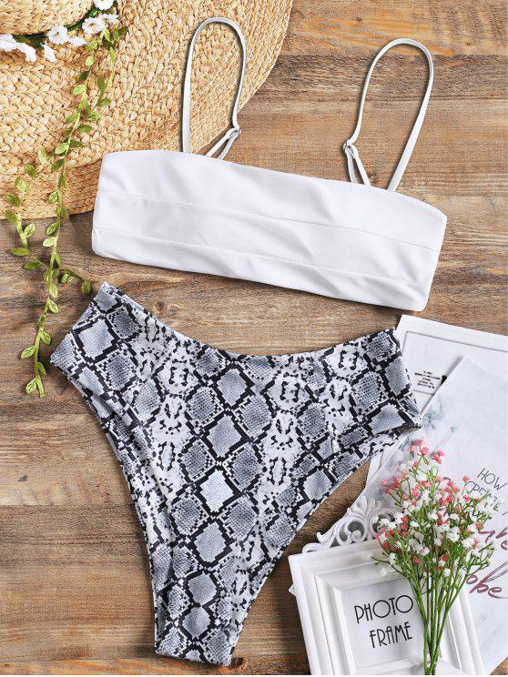 shops Snakeskin Print High Leg Ladder Cut Bikini Swimwear - WHITE L