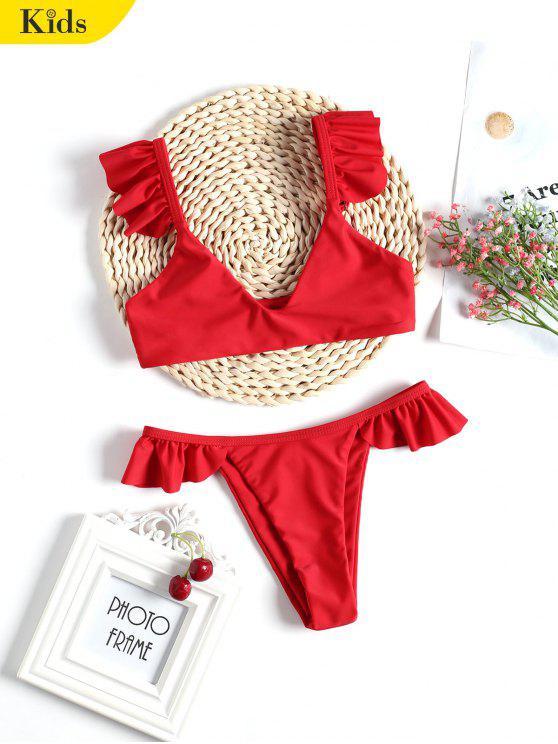 Conjunto de bikinis para niños con dobladillo fruncido - Rojo 4T