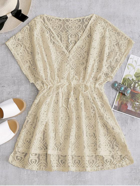 new Drawstring Lace Cover-up Dress - APRICOT ONE SIZE