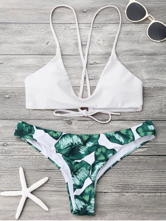 Juego de Bikini de Palm Leaf Cami Bralette - Blanco XL