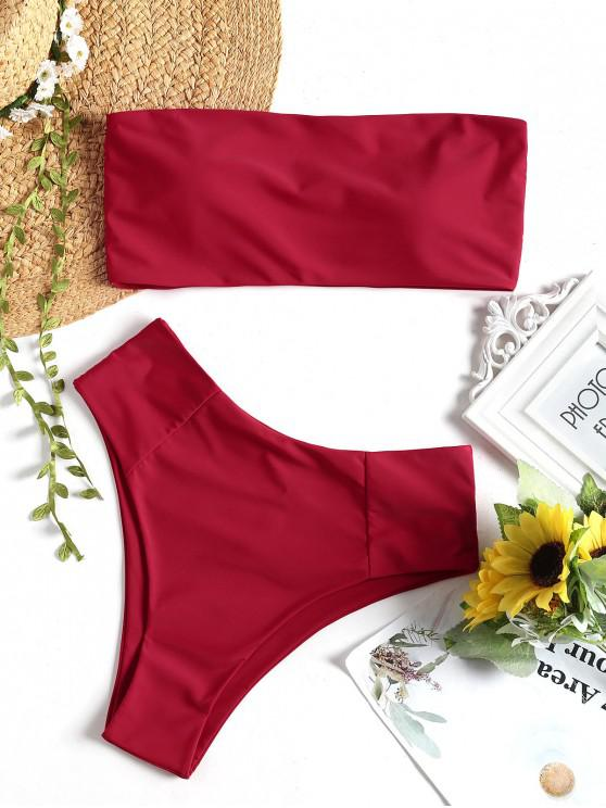 affordable High Cut Bandeau Bathing Suit - RED M