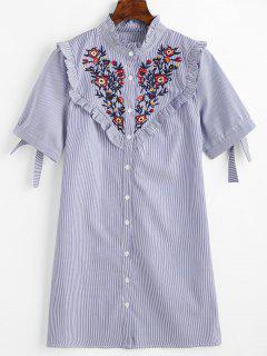Vestido Con Volantes A Rayas Y Volantes Con Parches Florales - Azul S