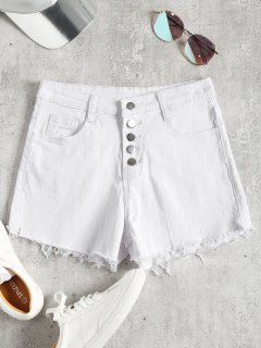 High Waisted Denim Cutoff Shorts - White M