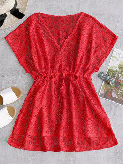 Drawstring Lace Cover-up Dress - Red