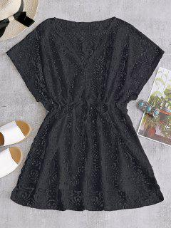 Drawstring Lace Cover-up Dress - Black