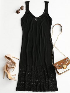 Plunge Maxi Crochet Dress - Black