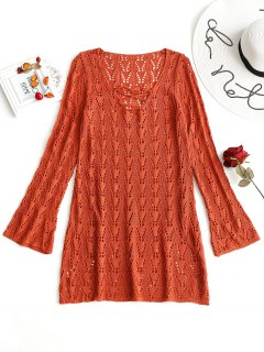 Lace-up Long Sleeve Crochet Dress - Brick-red