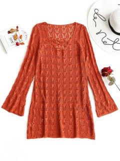 Vestido De Crochet De Manga Larga Con Cordones - Rojo Ladrillo