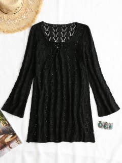 Lace-up Long Sleeve Crochet Dress - Black