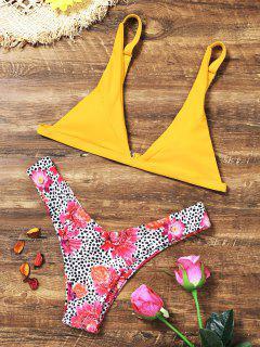 Blumen Leopard High Cut Bikini Set - Gelb S