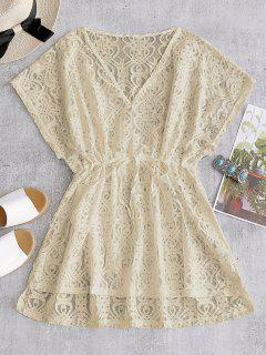 Drawstring Lace Cover-up Dress - Apricot