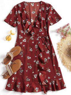 Plunging Neck Floral Ruffles Wrap Dress - Dark Red L