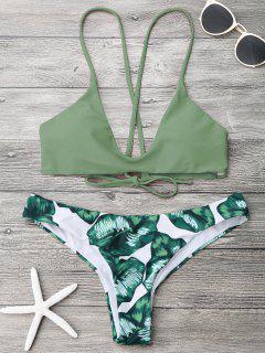 Palm Leaf Cami Bralette Bikini Set - Army Green L