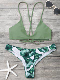 Palm Leaf Cami Bralette Bikini Set - Army Green M