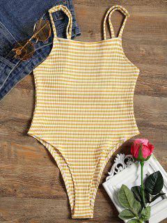 Square Neck Striped Ribbed Cami Bodysuit - Yellow M