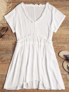 V Neck Frilled Crinkly Beach Dress - White S