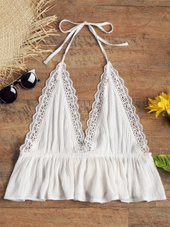 Halter Open Back Crinkly Beach Top - White M