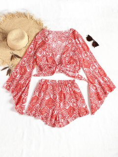 Flare Sleeve Tied Printed Top And Beach Shorts - Red L