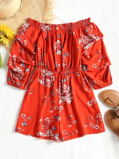 Off Shoulder Floral Pleated Sleeve Romper - Darksalmon L