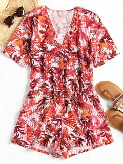 Low Cut Leaf Print Drawstring Surplice Romper - Floral M