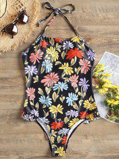 Halter Print One Piece Swimwear - Black Xl