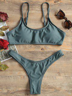 Ribbed Bralette Cheeky Bikini Set - Green M