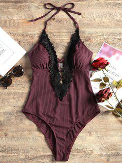 Lace Panel Halter One Piece Swimsuit - Wine Red Xl