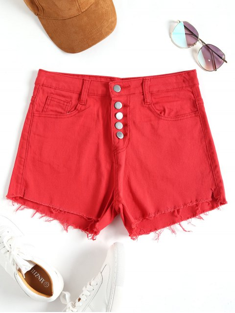 Hoch taillierte Denim Cutoff Shorts - Rot L Mobile