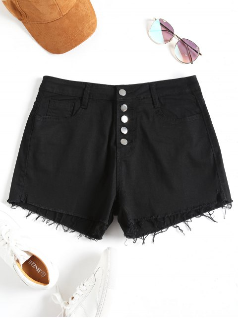latest High Waisted Denim Cutoff Shorts - BLACK S Mobile