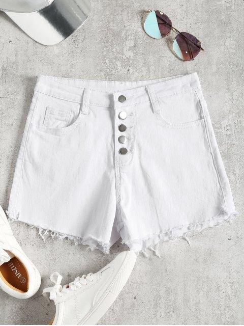 Pantalones cortos de corte alto de mezclilla de talle alto - Blanco S Mobile