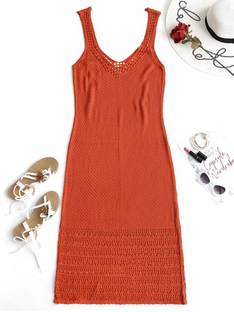 chic Plunge Maxi Crochet Dress - BRICK-RED ONE SIZE Mobile