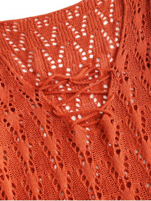 Robe en Crochet à Lacets à Manches Longues - Brique rouge Taille Unique Mobile