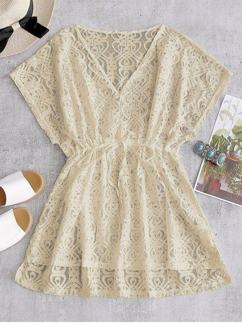 new Drawstring Lace Cover-up Dress - APRICOT ONE SIZE Mobile