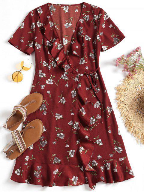 Vestido de pliegues con volantes florales - Dark Red M Mobile