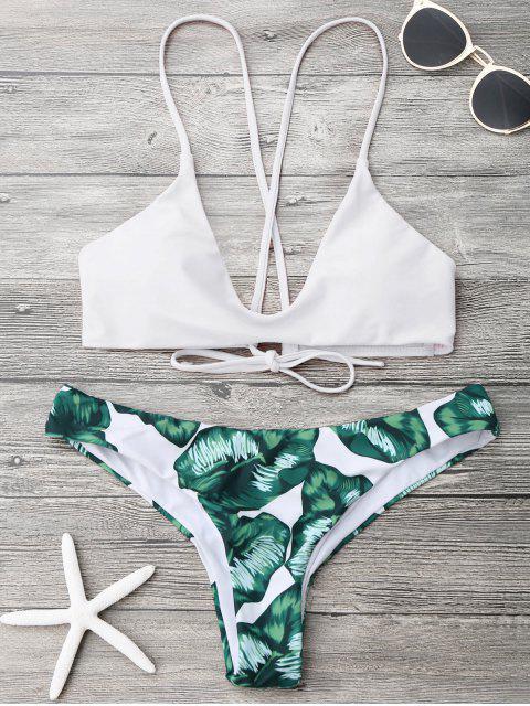 sale Palm Leaf Cami Bralette Bikini Set - WHITE L Mobile