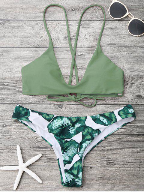 shop Palm Leaf Cami Bralette Bikini Set - ARMY GREEN S Mobile
