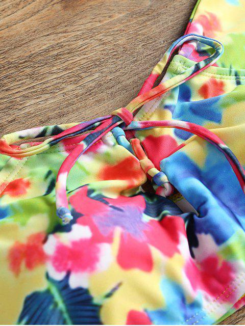 Conjunto de bikini floral fuera del hombro - Colores Mezclados XL Mobile