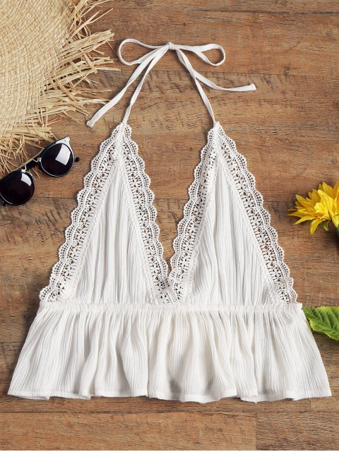 shops Halter Open Back Crinkly Beach Top - WHITE S Mobile